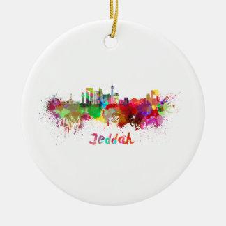 Jeddah skyline in watercolor ceramic ornament