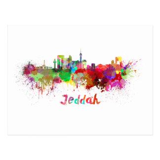 Jeddah skyline in watercolor postcard