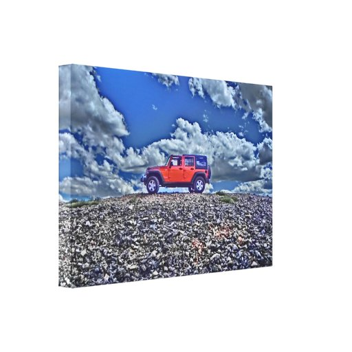 Jeep Adventure mountain canvas Stretched Canvas Print