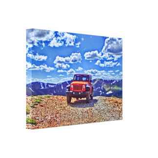 Jeep mountain adventure canvas stretched canvas print