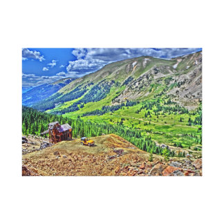 Jeep old mine mountain canvas stretched canvas print