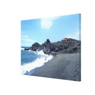 Jeep secluded footprints beach scene canvas art stretched canvas print