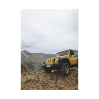 Jeep yellow rubicon mountain canvas stretched canvas print