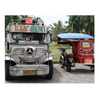Jeepney and tricycle postcard