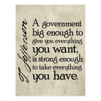 Jefferson: Beware of Big Government Postcard
