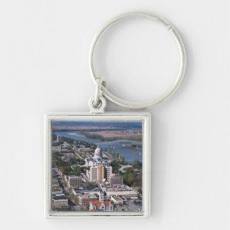 Jefferson City Silver-Colored Square Key Ring