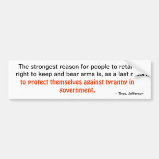 Jefferson Gun Rtghts Bumper Sticker