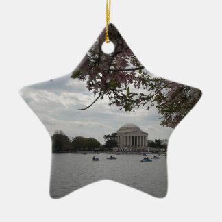 Jefferson Memorial During Cherry Blossom Festival Ceramic Ornament