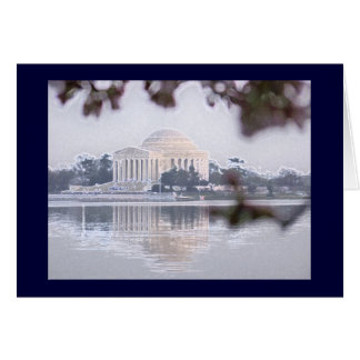 Jefferson Memorial reflected in Tidal Basin Card