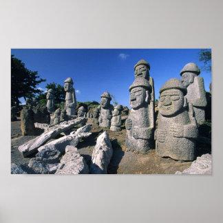 Jeju Stone Grandfather Statues Harubang Poster