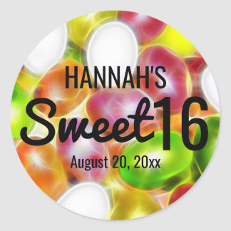 Jelly Bean Candy Sweet Sixteen Personalized Classic Round Sticker