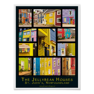 Jelly Bean Houses of St John's, NL, Canada Poster