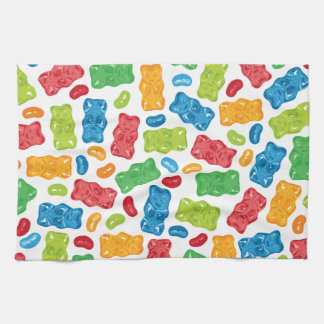 Jelly Beans & Gummy Bears Pattern Tea Towel