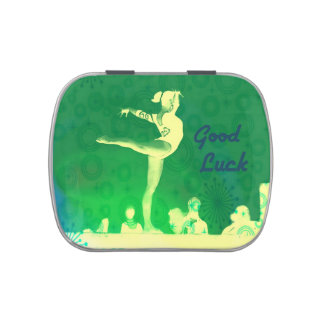 "Jelly Belly candy tin. ""Good Luck Gymnast"" theme Jelly Belly Candy Tin"