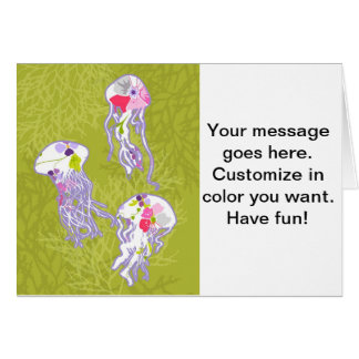 Jelly fishes on lime green background. greeting card