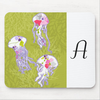 Jelly fishes on lime green background. mousepad