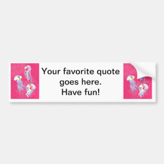 Jelly fishes on plain pink background. bumper sticker