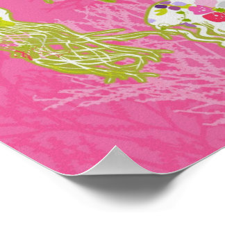 Jelly fishes on plain pink background posters