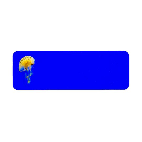 jellyfish-386680 BRIGHT ROYAL BLUE YELLOW COLORFUL Return Address Label