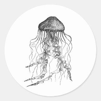 Jellyfish Black and White Pencil Sketch Design Round Sticker