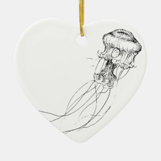 Jellyfish Black & White Drawing Ceramic Heart Decoration