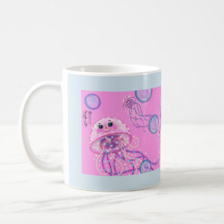 Jellyfish in the Pink 11 oz. mug by Artist Kathi D