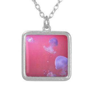 Jellyfish in the Pink Silver Plated Necklace