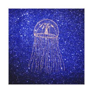 Jellyfish Marine Sea Ocean Life Pink Rose Gold1 Canvas Print