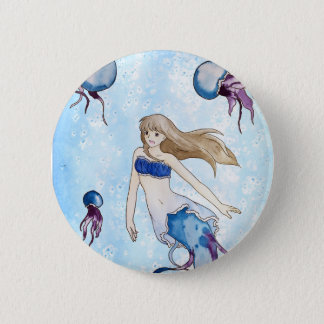 Jellyfish Mermaid 6 Cm Round Badge