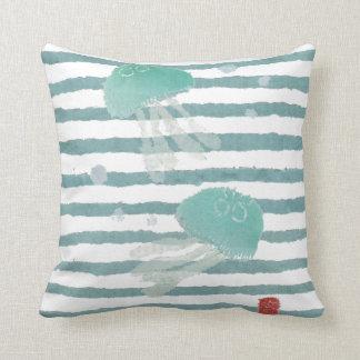 Jellyfish on Aqua Blue Stripe Pillow