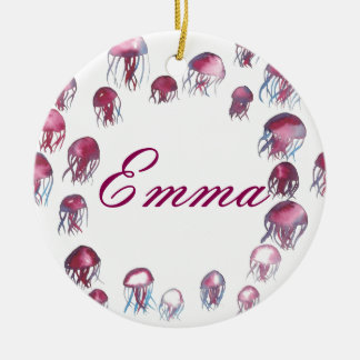 Jellyfish School Ceramic Ornament