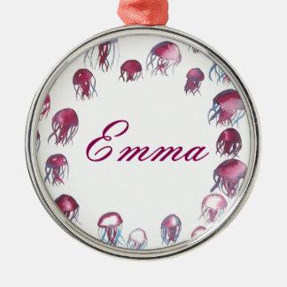 Jellyfish School Metal Ornament