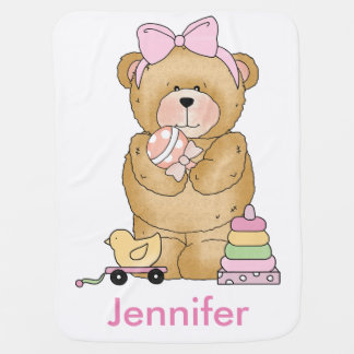 Jennifer's Teddy Bear Personalized Gifts Baby Blanket