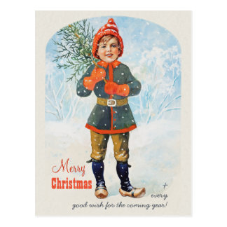 Jenny Nyström Boy with a Christmas tree Postcard