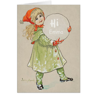 Jenny Nyström Girl with snowball CC0090 Birthday Card