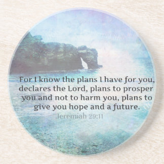 Jeremiah 29:11 Bible Verse Beach ocean waves Beverage Coaster