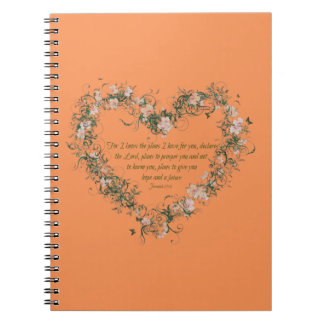 Jeremiah 29:11 Flower Heart Spiral Photo Notebook