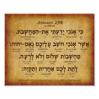 "Jeremiah 29:11 Hebrew Poster (10""x8"")"