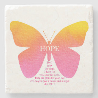 Jeremiah 29:11 Hope Butterfly Marble Stone Coaster