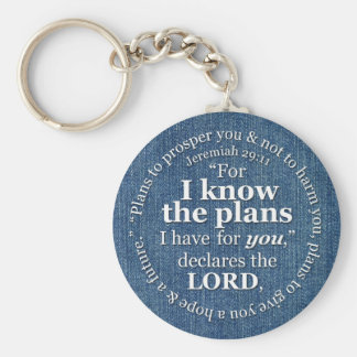 Jeremiah 29:11 I Know the Plans Bible Verse Denim Basic Round Button Key Ring