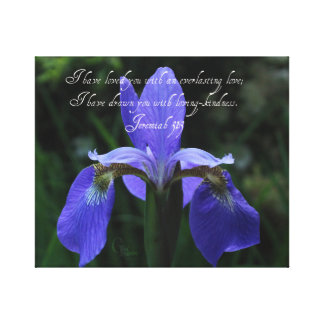 Jeremiah 31:3 Royal Blue Iris Canvas Print