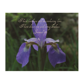 Jeremiah 31:3 Royal Blue Iris Wood Wall Art