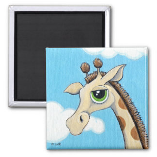 Jeremy Giraffe With His Head in the Clouds Square Magnet
