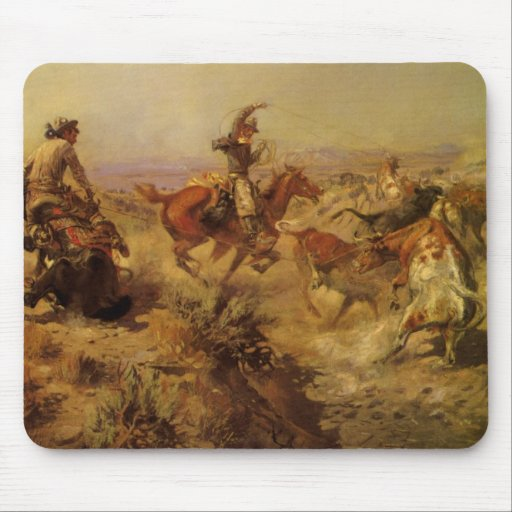 Jerked Down by CM Russell, Vintage Cowboys Mouse Pads