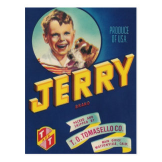 jerry boy and dog post card