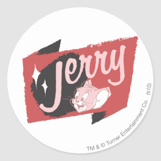 Jerry Red and Black Logo Round Sticker