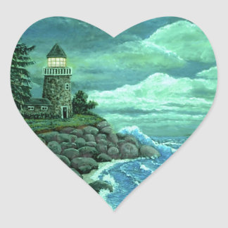 JERRYS LIGHTHOUSE by Ave from ArtRave Heart Sticker