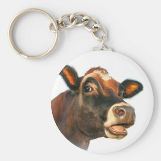 Jerse cow moo basic round button key ring