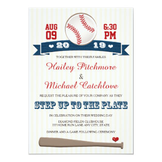 "Jersey Baseball Themed Wedding Invitations 5"" X 7"" Invitation Card"