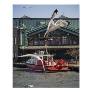Jersey City Fireboat with Sea Gulls Poster